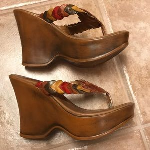 Shoes - Brazilian wedge thong sandals with leather upper